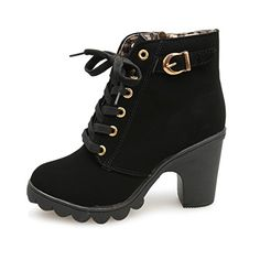 OverDose Frauen Damen High Heel-Ankle-Boots Damen Buckle Plattform Schuhe  Leder Stiefel Martin Stiefel  Amazon.de  Schuhe   Handtaschen 452398cbb1