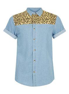 Blue Leopard Print Yoke Short Sleeve Denim Shirt - Men's Shirts - Clothing - TOPMAN USA
