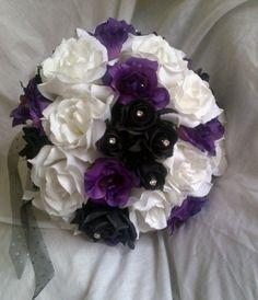 black white and purple roses bridal posy diamantes ribbon to suit set