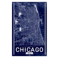 Chicago Vintage Map Poster in Architect Blue