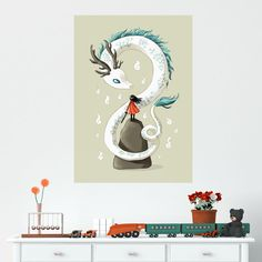 Anime Girl and Dragon Spirit Wall Decal by Indre Bankauskaite
