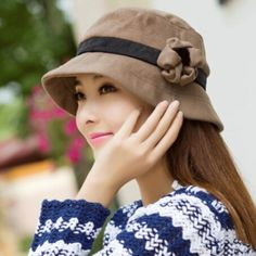 Fashion flower bucket hat for women autumn winter hats a977a5e5d