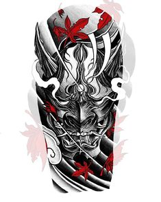 Shoulder tattoosketch🍂👹 If you want a similar tattoosketch, de me Japanese Warrior Tattoo, Japanese Mask Tattoo, Japanese Dragon Tattoos, Japanese Tattoo Designs, Japanese Sleeve Tattoos, Tattoo Japanese Style, Samurai Maske Tattoo, Hannya Maske Tattoo, Samurai Tattoo Sleeve