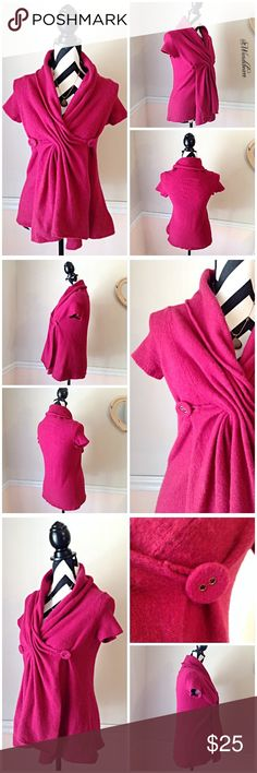 Ballerina Deep Fuchsia Button Wrap Sweater Anthro Ballerina Deep Fuchsia Button Wrap Sweater. One of my favorite sweaters, was worn often. Sweater is in used, good condition. Still has lots of wear left. There is some pilling, no stains, no holes, and no rips. Size is a medium but it runs on the small side... Fits more like a s/m. Free to ask questions. Measurements upon request. 🚫NO TRADES🚫 Anthropologie Sweaters