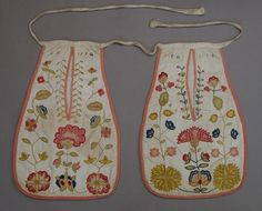 Pockets, pair, embroidered, c. 1774