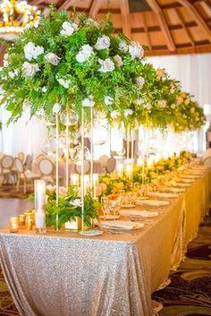 Long Table, Tall Foliage Arrangements, Shiny Linen    Photography: Michael Svoboda Wedding Photography   Read More:  http://www.insideweddings.com/weddings/boho-chic-wedding-with-ocean-elements-in-southern-california/933/