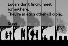 Lovers don't finally meet somewhere, they're in each other all along. - Rumi