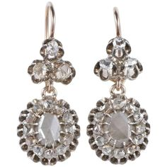 3.40 Carat Rose Cut Diamonds Rare Early Victorian Drop Earrings For Sale