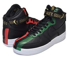 NIKE AIR FORCE 1 HIGH BHM QS [BLACK / UNIVERSITY RED / PINE GREEN] 836227-002
