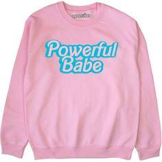 Powerful Babe Sweatshirt Feminist Pastel Grunge Kawaii Alternative... (1.410 RUB) ❤ liked on Polyvore featuring tops, hoodies, sweatshirts, black, women's clothing, pastel sweatshirt, pastel crop top, cropped sweatshirt, cut-out crop tops and pastel tops