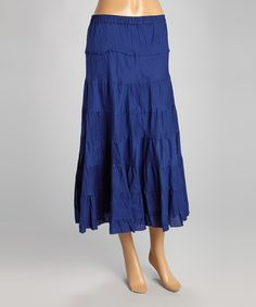 Love this Navy Tiered Maxi Skirt - Women by Raj Imports on #zulily! #zulilyfinds