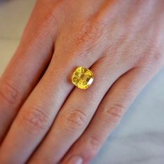 A yellow sapphire for your Friday afternoon. Diamond Gemstone, Diamond Earrings, Naveya And Sloane, Bespoke, Sapphire, Fine Jewelry, Diamonds, Friday, Engagement Rings