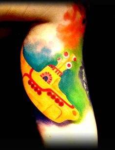 Beatles inspired tattoo of the Yellow Submarine