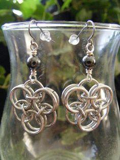 Hematite Helm Flower Earrings    $6.00
