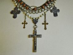 This is one of my all time favorite pieces-there are so many interesting elements.    Most of the components are from some italian rosaries that I