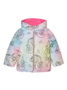 She will be on trend in her all over unicorn heavy weight puffer jacket