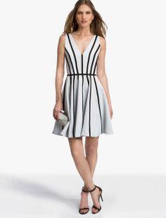 Double faced matte satin dress with black grosgrain applique