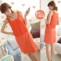 Vestido naranja de dos piezas.  Encuentra esto y mucho más en: www.niuenlinea.co