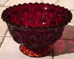 VINTAGE L.E. SMITH MOON & STARS RUFFLED CRIMPED RIM COMPOTE CANDY BOWL RUBY RED