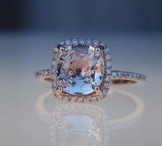 3.17ct cushion ice peach champagne sapphire 14k by EidelPrecious, $3450.00