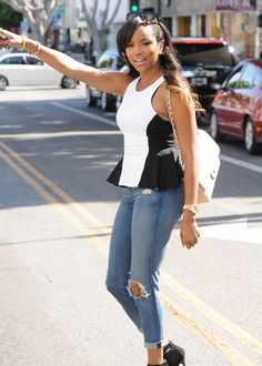 Splurge: Letoya Luckett's Ivy Beverly Hills Torn by Ronny Kobo Black and White Contrast Peplum Top