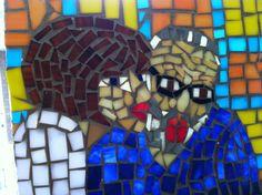 """""""Nurse CoCo and her Man"""" mosaic portrait, recycled stained glass Mosaic Portrait, Art, Stained Glass, Portrait"""