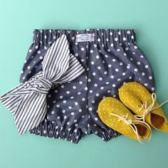 How good are polkadots and stripes!! These two fabrics are designed to mix and match. Shoes by #zuziishoes #littlemaggiemoo #etsy #shophandmade #bloomers #topknots #babyclothes #baby #zuzii #polkadots #stripes