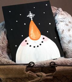 8x10 hand painted smiling snowman canvas wall by NatalieLDesigns