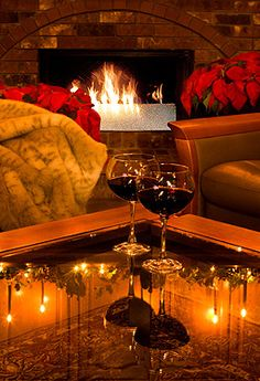 A fireplace, warmth and wine. So nice, simple, romantic and relaxing. Blue Velvet Chairs, Romance And Love, In Vino Veritas, Wine Time, Warm And Cozy, Cozy Winter, Wines, Cork, Great Gifts