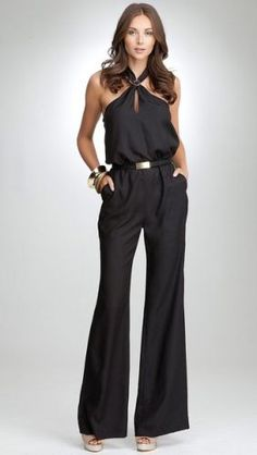 Halter Neck Jumpsuits For Women, Halter Neck Wide Leg Jumpsuit Cocktail Jumpsuit, Cocktail Outfit, Look Fashion, Fashion Outfits, Womens Fashion, Fashion Design, Cocktail Attire For Women, Estilo Hip Hop, Style Casual