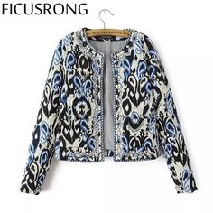 1a12767ef FICUSRONG Outerwear & Coats Autumn Winter Color Print New Women Round Neck  Beaded Embroidery Cotton Women's Short Cotton Jacket-in Basic Jackets from  ...