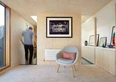 Plywood flooring, walls and ceiling. Studio Octopi adds plywood-lined loft extension to house in London Loft Spaces, Living Spaces, Studio Spaces, Plywood Interior, Bright Homes, Victorian Terrace, Interior Decorating, Interior Design, House Extensions
