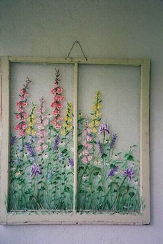 pane ideas flowers Old window wall art ideas,Vintage window floral pane,Unique wall art,window pane art,Original window Old Windows Painted, Painted Window Panes, Window Pane Art, Vintage Windows, Window Frames, Antique Windows, Vintage Doors, Antique Doors, Old Window Art