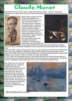 Art History Paintings in American History – Viral Gossip Teaching Culture, Teaching Art, Claude Monet, Artist Bio, Art Curriculum, Middle School Art, Science Art, Art Classroom, French Art