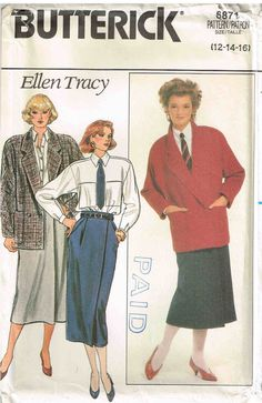 Butterick 6871 Vintage 80s Oversized Jacket Skirt and Shirt Sewing Pattern by PeoplePackages