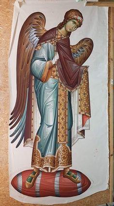 Angeli Byzantine Icons, Byzantine Art, Religious Icons, Religious Art, Angel Protector, Religious Paintings, Biblical Art, Heart Painting, Angels Among Us