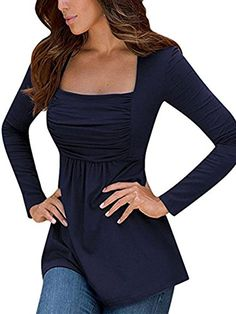 Special Offer: $13.99 amazon.com Asian S=US 2~4;Asian M=US 4~6;Asian L=US 6~ 8;Asian XL=US 8~10This elegant tunic tops is featured in a long sleeve and square neckEmpire waist tops with a asymmetric hem makes a slouchy lookingRelaxed fit and comfortable fabricationFlowy tunic tops for...