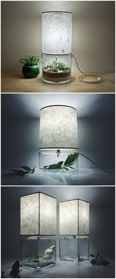 Handmade Terrarium Paper Table Lamp Table & Desk Lamps - My site Terrarium Diy, Terrarium Wedding, Lampe Decoration, Table Decorations, Lamp Design, Lighting Design, Indoor Vegetable Gardening, Organic Gardening, Table Desk