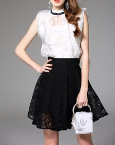 #VIPme White Sheer Top A Line Black Skater Skirt 2 PCS Set ❤️ Get more outfit ideas and style inspiration from fashion designers at VIPme.com.