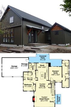 Two-Story Rustic Ranch with Barn Doors (Floor Plan) Barn Homes Floor Plans, Metal Barn Homes, Barndominium Floor Plans, Pole Barn House Plans, Rustic House Plans, Log Home Plans, Pole Barn Homes, Shop House Plans, Craftsman House Plans