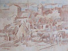 "Carlos Llanos ""Ciudad"" Lápiz color sobre papel 30 X 40 cms. http://www.portondesanpedro.com"