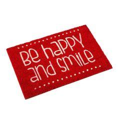 Felpudo rojo Be happy and smile