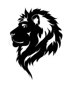 Stock vector of 'Graphic lion, black and white drawing for tattoo.'