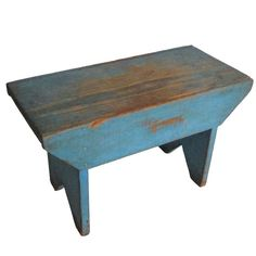 19thc Original Robin Egg Blue Stool. I love these old small benches. Have a few. Use them for everything.