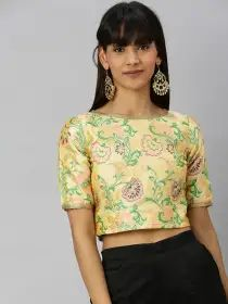 Inddus Women Cream-Coloured & Green Floral Woven Design Ethnic Crop Top