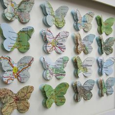 The Places We've been - 16 Butterfly Custom Example - Vintage Map Butterfly Art. £150.00, via Etsy.
