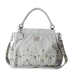 Marseille (Prima)-Soft faux leather in a cool shade of light grey is accented by oversized stud and grommet detailing in various metallic colors.  http://janna.miche.com