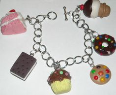 handmade polymer clay sweets and desserts charm bracelet