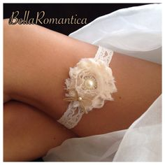 Rustic Wedding Garter   Ivory Bridal Garter  by BellaRomantica, $10.99