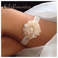 Rustic Wedding Garter   Ivory Bridal Garter  by BellaRomantica, $10.99